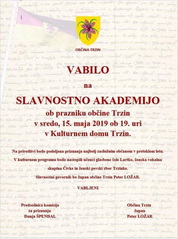 Slavnostna akademija ob prazniku Občine Trzin